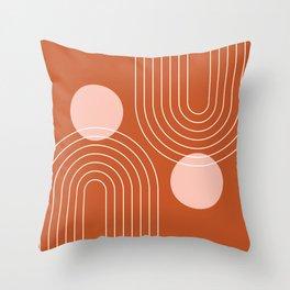 Mid Century Modern Geometric 64 (Rainbow and Sun Abstraction) Throw Pillow
