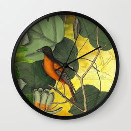 Baltimore Oriole on Tulip Tree, Vintage Natural History and Botanical Wall Clock