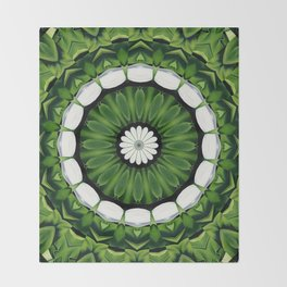 Tropical Green and White Floral Mandala Throw Blanket