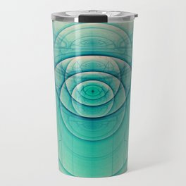 Egyptian Turquoise Scarab on Beige Sandstone Glyphs Travel Mug