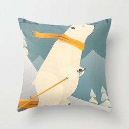 Polar Bear - Loon Mountain Throw Pillow