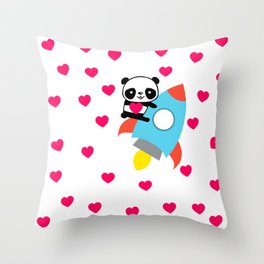 Rocketpanda in Love Throw Pillow