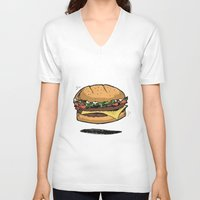 burger V-neck T-shirts featuring BURGER by Anthony Morell