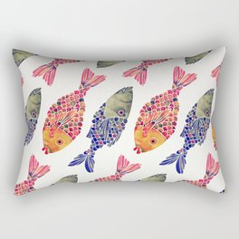 Indonesian Fish Duo – Navy & Coral Palette Rectangular Pillow