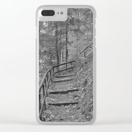 Wooden stairs, black and white photography Clear iPhone Case