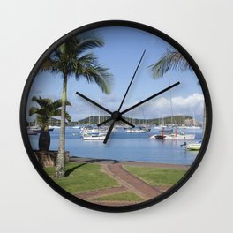 Boats in the Bay Wall Clock