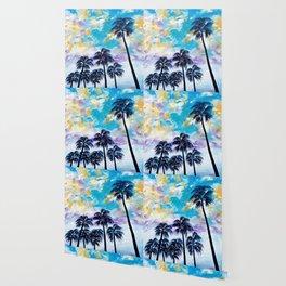Oceanside Palm Trees Wallpaper