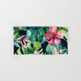 Dark Tropical Hibiscus & Leaves Hand & Bath Towel
