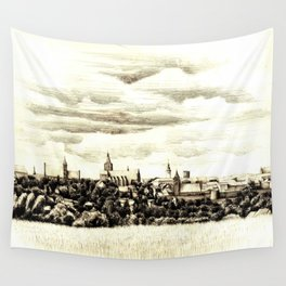 PANORAMA OF A GOTHIC CITY CHELMNO IN POLAND MADE IN FIGURATIVE STYLE Wall Tapestry