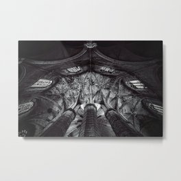 Arches and Stained-glass in the arcade, triforium, and clerestory of gothic European cathedral black and white photograph Metal Print