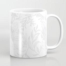 White Elegant Botanical line pattern Coffee Mug