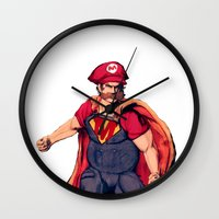 super mario Wall Clocks featuring Super Mario by Mastodon