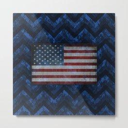 Cobalt Blue Digital Camo Chevrons with American Flag Metal Print