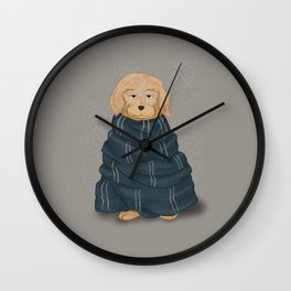 A dog in blue scarf Wall Clock