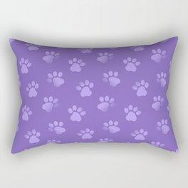 Cat Dog Paw Print Pattern in Purple Rectangular Pillow