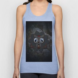 Cute little steampunk owl with floral elements Unisex Tank Top