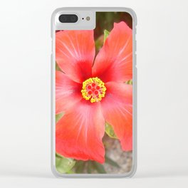 Head On Shot of a Red Tropical Hibiscus Flower Clear iPhone Case