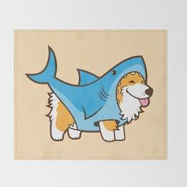 Corgi in a Shark Suit Throw Blanket
