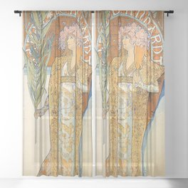 Art Nouveau poster by Alphonse Mucha Sheer Curtain