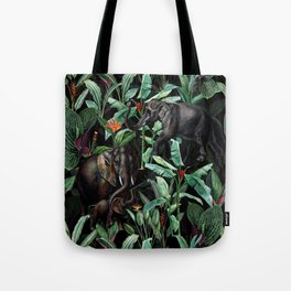 Vintage & Shabby Chic - Tropical Jungle and Elephants Night Tote Bag