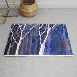 Watercolor painting of trees silhouetted in forest during sunset.  Watercolor landscape painting. Rug