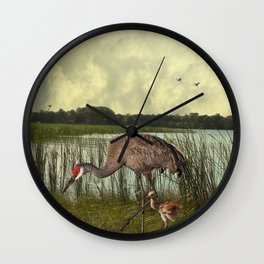 Florida Sandhill Crane and Baby Wall Clock