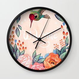 Welcome Hummingbird Wall Clock