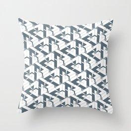 Triangle Optical Illusion Gray Lines Dark Throw Pillow
