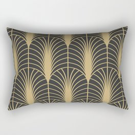 Arches in Charcoal and Gold Rectangular Pillow