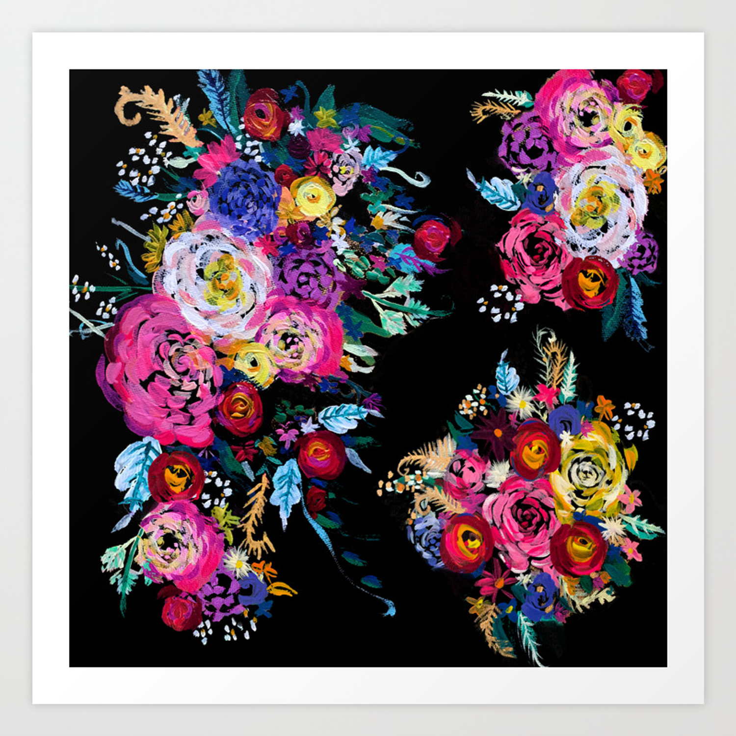 Colorful floral painting on black canvas art print