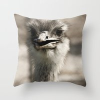 ostrich Throw Pillows featuring Ostrich by Raymond Earley