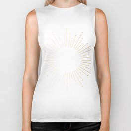 Sunburst Gold Copper Bronze on White Biker Tank