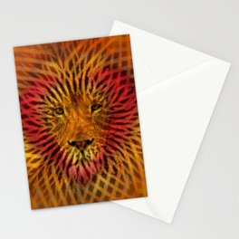 Abstract Design of a Lion with a Heart with Geometric Zebra Stripes Stationery Cards
