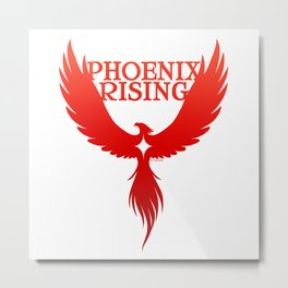 PHOENIX RISING red with star center Metal Print