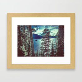 Crater Lake Vintage Summer Framed Art Print