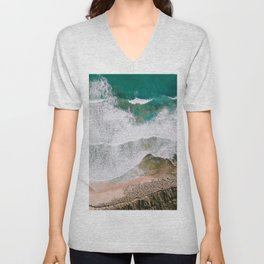Waves of the ocean | Ericeira fine art travel photography | sea drone wall art Unisex V-Neck