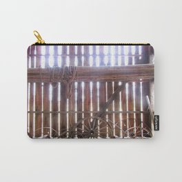 Light Spokes | Wooden wheels in barn with sunlight | Maryland Carry-All Pouch