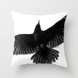 Crow In Flight illustration Throw Pillow