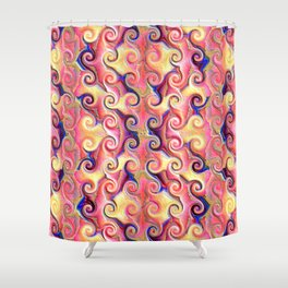 Colorful Seamless Wave Spiral Abstract Pattern Shower Curtain