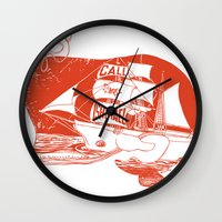 moby dick Wall Clocks featuring Moby Dick by Paul McCreery