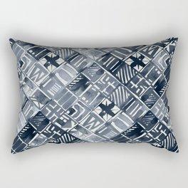 Simply Tribal Tiles in Indigo Blue on Lunar Gray Rectangular Pillow