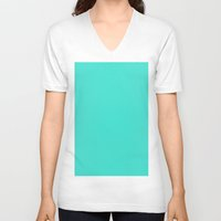 turquoise V-neck T-shirts featuring Turquoise by List of colors
