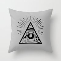 all seeing eye Throw Pillows featuring ILLUMINATI ALL SEEING EYE by HAUS OF DEVON