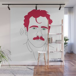 Blue-tooth pink mustache guy Wall Mural
