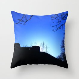 Castle Ruins under the Fading Sun Throw Pillow