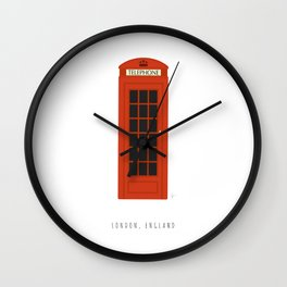London, England | Red Phone Booth Wall Clock