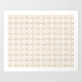 Two Leaves Pattern - color: Ivory Tower  Art Print
