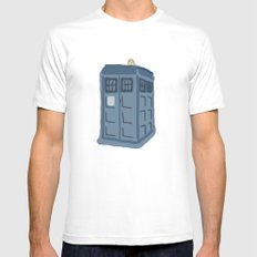 Abstract TARDIS Mens Fitted Tee White MEDIUM