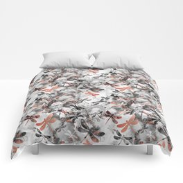 Dragonfly Lullaby in Marble and Rose Gold Comforters