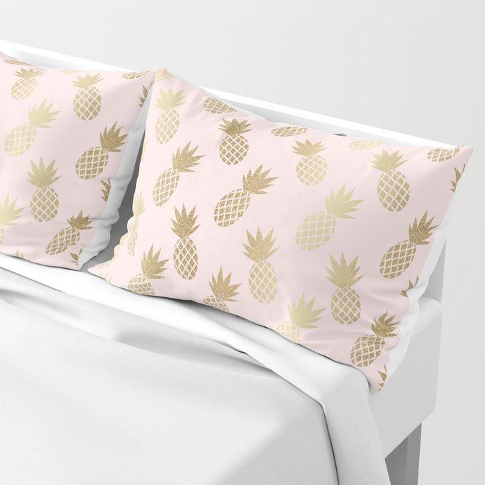 Pink & Gold Pineapples Pattern Kissenbezug
